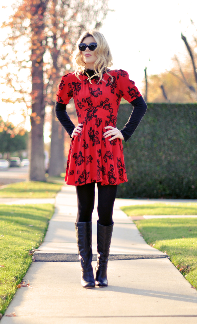 red rose  print dress - black tights  and boots-snake necklace