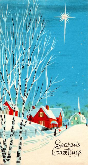 Vintage 1960s Christmas Card - Snowy Street