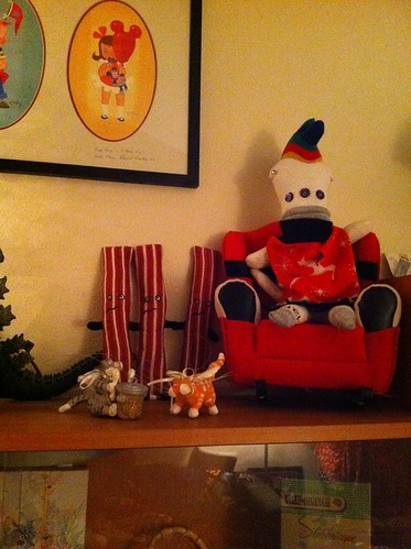 sock zombie Santa holding court