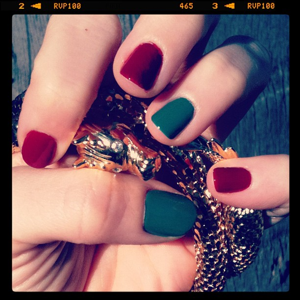 Grew tired of the glitter stripes & went with a simple red & green for Christmas. #nails #manicure