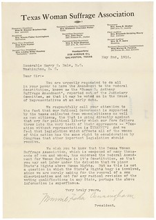 Petition from Minnie Fisher Cunningham of the Texas Woman Suffrage Association, 05/02/1916