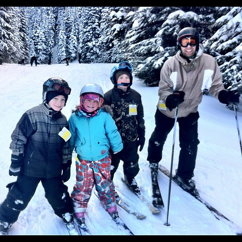 The last run of the day was our first ever ski run as a family! We picked the kids up after their last lesson and did the Whipsaw. (Even Matthew's long arms weren't long enough for a self-portrait of the five of us.)