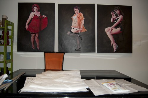 Burlesque goddesses watch over the tracing