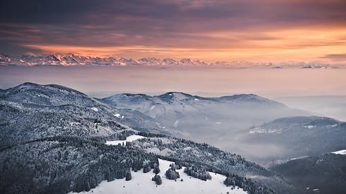 trees winter sunset sky panorama snow mountains alps nature germany landscape deutschland glow hills schwarzwald blackforest alpenglow badenwürttemberg alpenglühen belchen