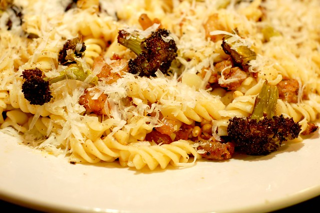 Roasted Broccoli With Sweet Italian Sausage, Pinenuts, Parmesan & Pasta by Eve Fox, Garden of Eating blog, copyright 2012