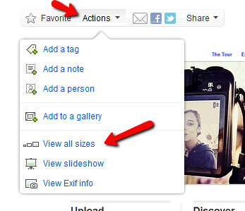 Select 'view all sizes' from the Actions menu