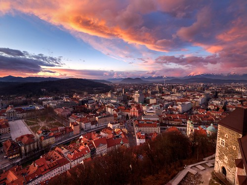city houses light sunset tower castle clouds cityscape afternoon view squares capital center hills slovenia vista ljubljana outlook slovenija grad cloudscape ljubljanski