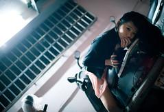 [フリー画像素材] 人物, 女性 - アジア, 乗り物・交通 - 人物, スクーター ID:201203122200