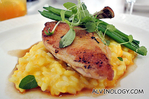 Sear free range chicken breast with pumpkin risotto and glazed French beans