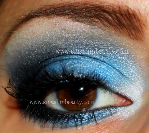 Blue silver white eyeshadow