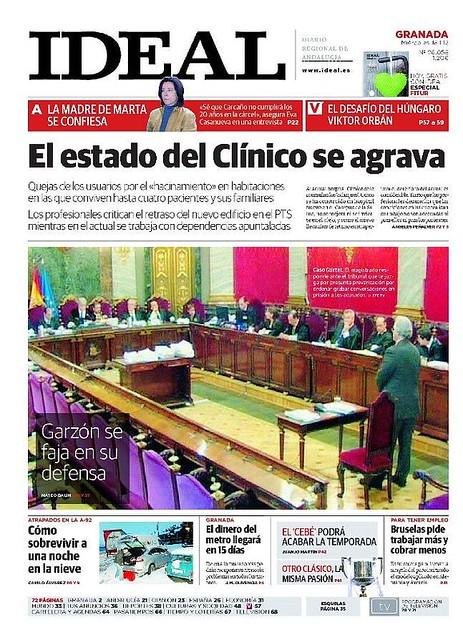Portada Ideal de Granada juez Garzón en el banquillo