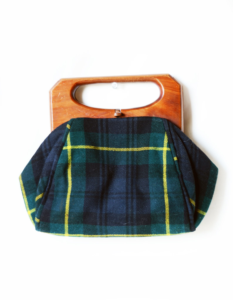 Vintage Plaid and Cedar Purse