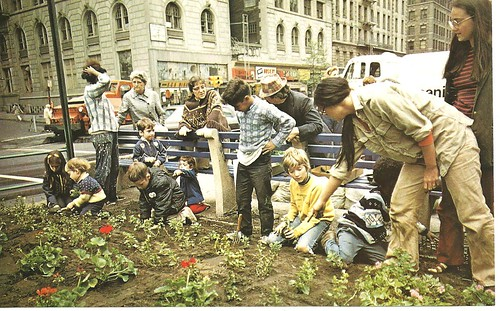 1970 Kids Plant Flowers On Broadway, NYC