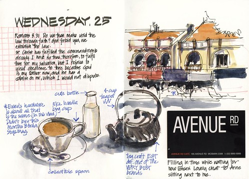 120125 Quick sketch Avenue Rd Cafe Mosman by borromini bear