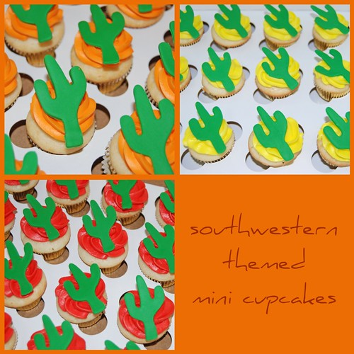Southwestern Themed Mini Cupcakes with a Saguaro Cactus