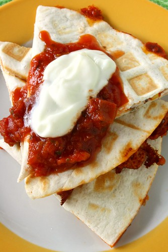 Waffle-Pressed Vegetarian Quesadillas