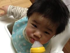 今日の片手哺乳瓶飲みとらちゃん(2012/1/27)