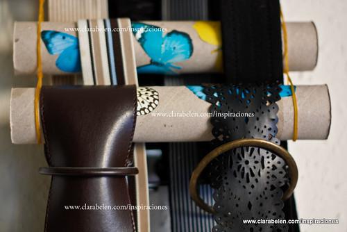 Manualidades con reciclado: ordenar pañuelos con gomillas y rollos de papel