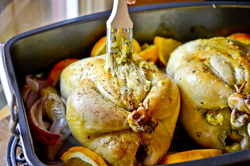 Garlic Butter-Rubbed Roast Chicken with Oranges & Red Onions 13