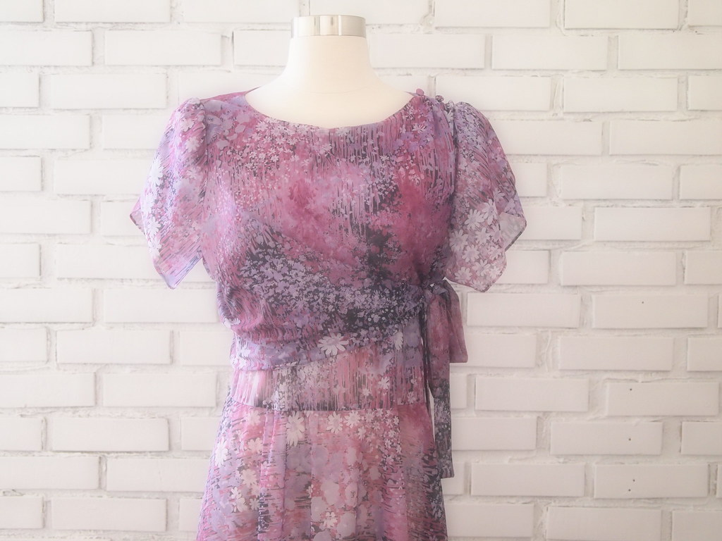 1970s sheer chiffon print dress