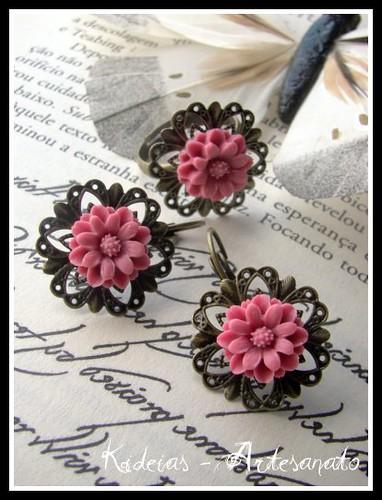 Conjunto anel e brincos rosa by kideias - Artesanato