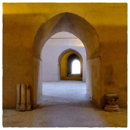 square arches storage morocco granary meknes historicmonument recedingview herielsouanigranary columnrelics