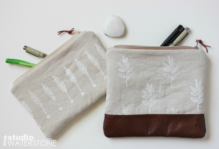 New Linen & Leather Pouches