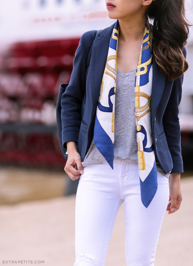 white jeans navy blazer hermes scarf outfit
