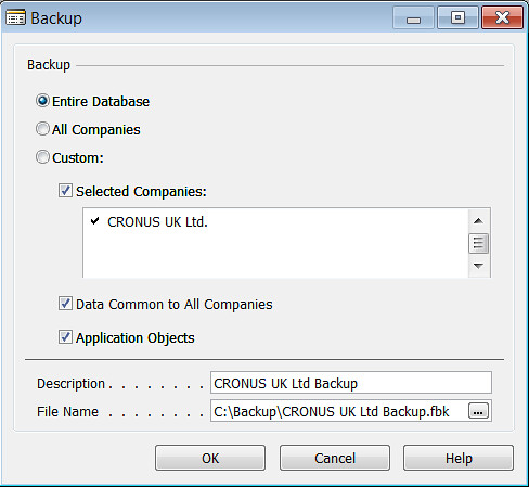How to take FBK backup - Settings