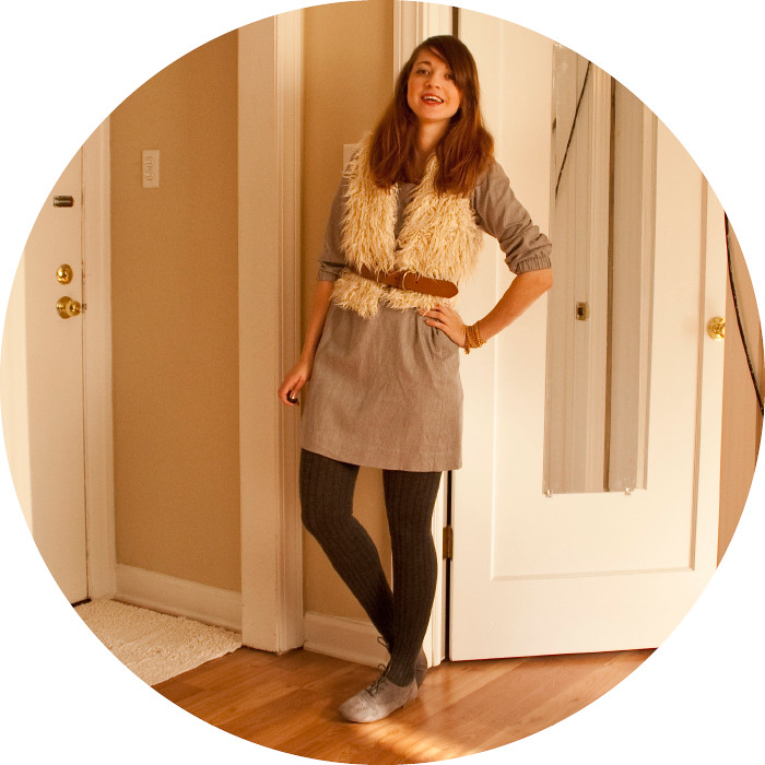dash dot dotty, furry vest, forever21, j.crew etta dress, grayed out, tights and oxfords, workfit, fallish, dot