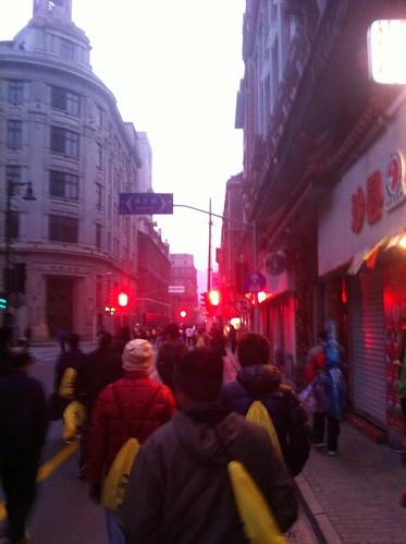 Before the start of the Shanghai Half Marathon