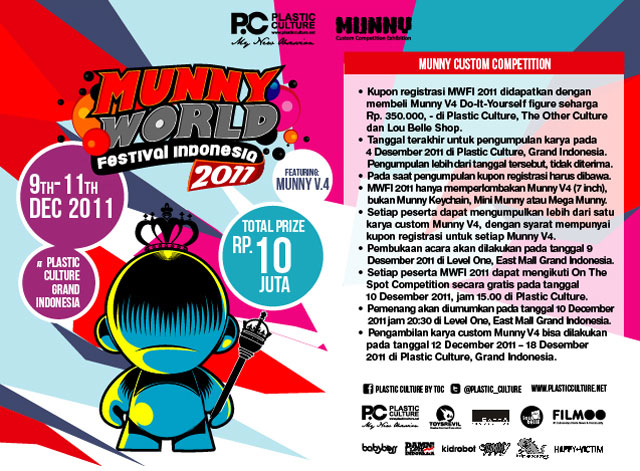 Munny world festival indonesia 2011 plastic culture 9 11 press featuring your works on munny v4 the 7 inch do it yourself munny by kidrobot yes thats right in mwfi 2011 we are focusing on bigger things solutioingenieria Choice Image