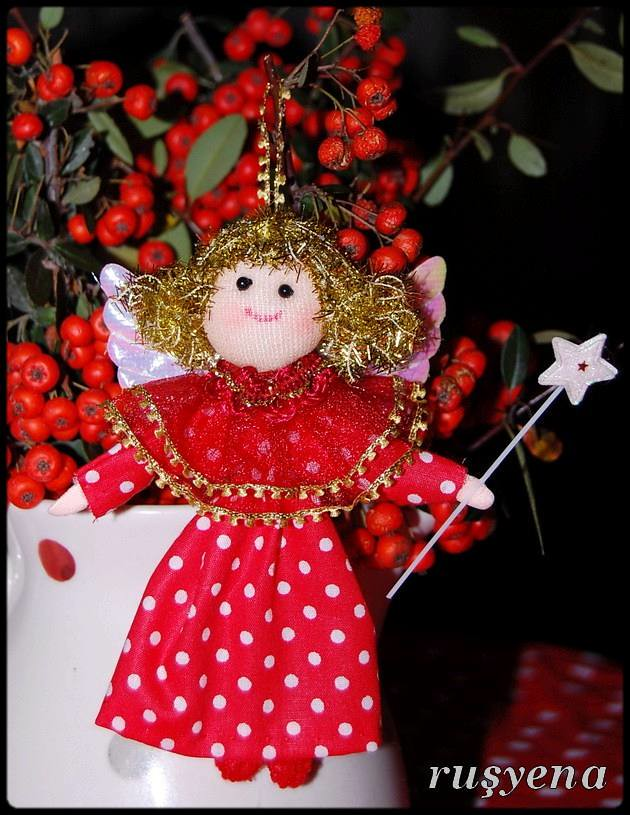 dotted angel ornament