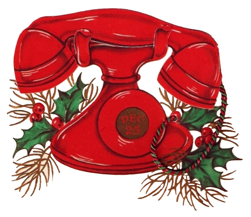 Vintage Christmas Telephone With Holly Image