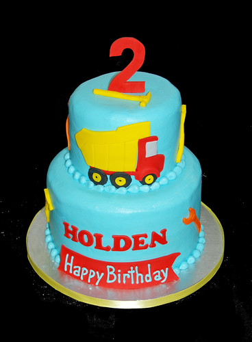 2nd birthday 2 tiered construction themed cake with dump truck