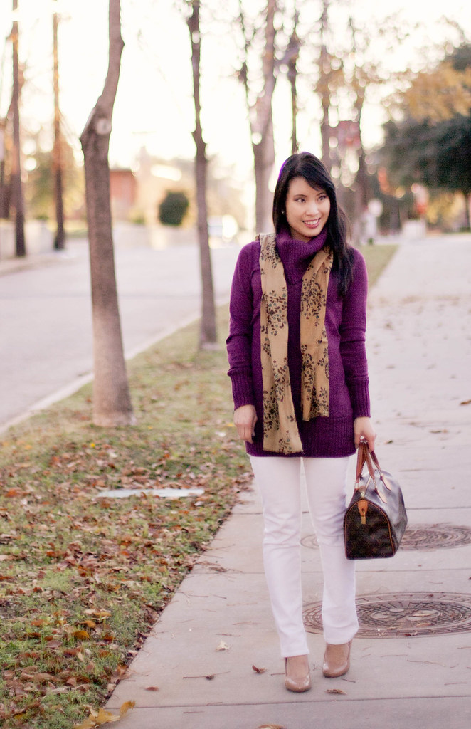 the limited ribbed cowlneck sweater, delias morgan white skinny jeans, target mossimo pearce camel patent pumps, louis vuitton speedy 25, jcpenney mng by mango heart leaf scarf