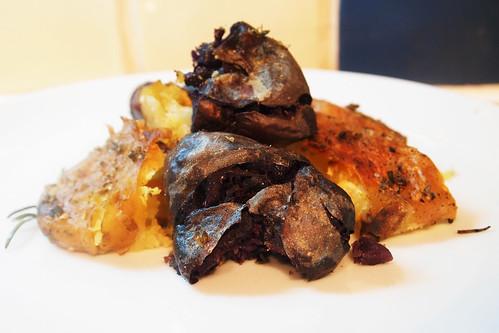 Roasted violet potatoes