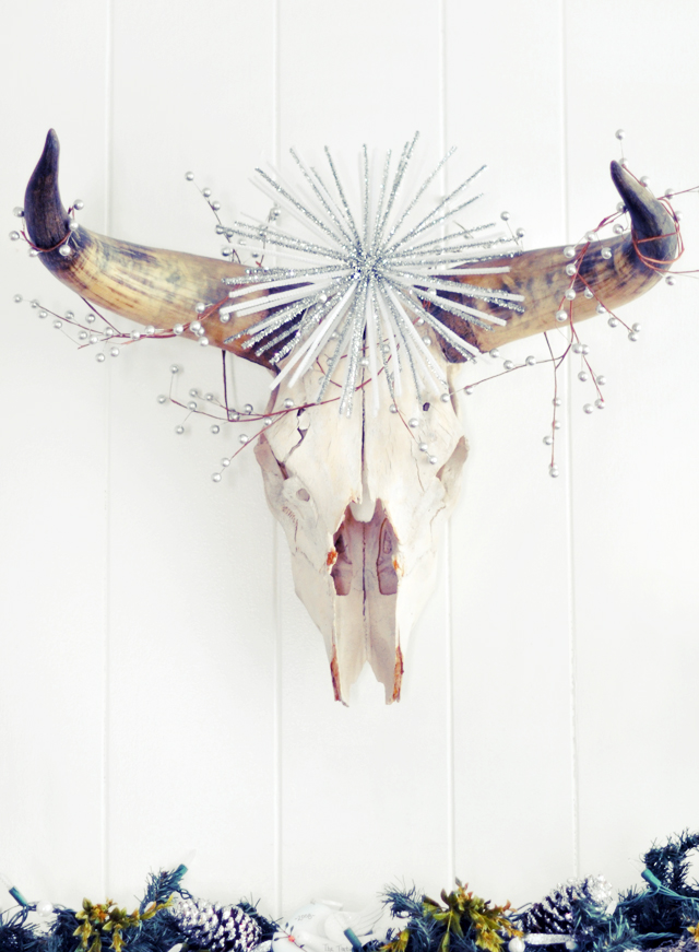 decorated cow skull head - holiday decor