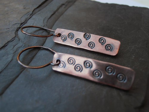 copper rectangle earrings by greensladejenny