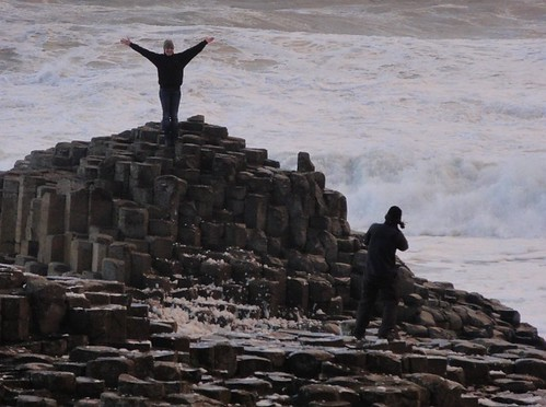 Tourists taking photos on the Giants Causeway