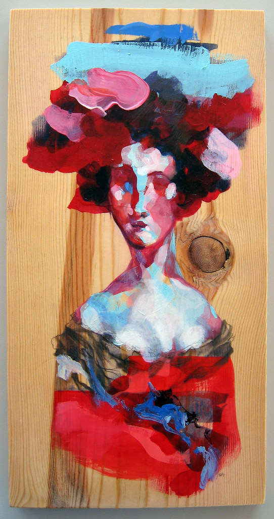 Try Not to Think About Hats, acrylic and graphite on found wood, 7 x 14 inches, 2011