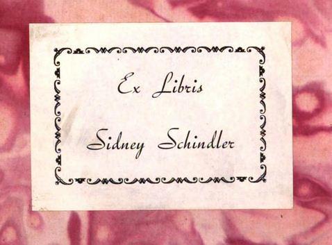 Book label of Sidney Schindler