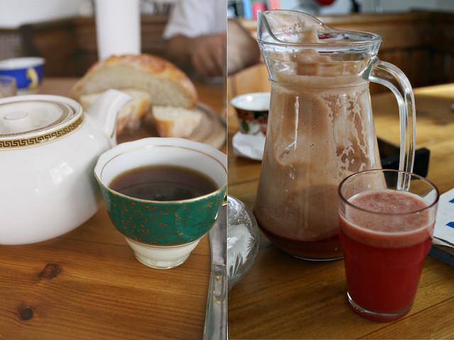 breakfast- tea & fresh apple juice