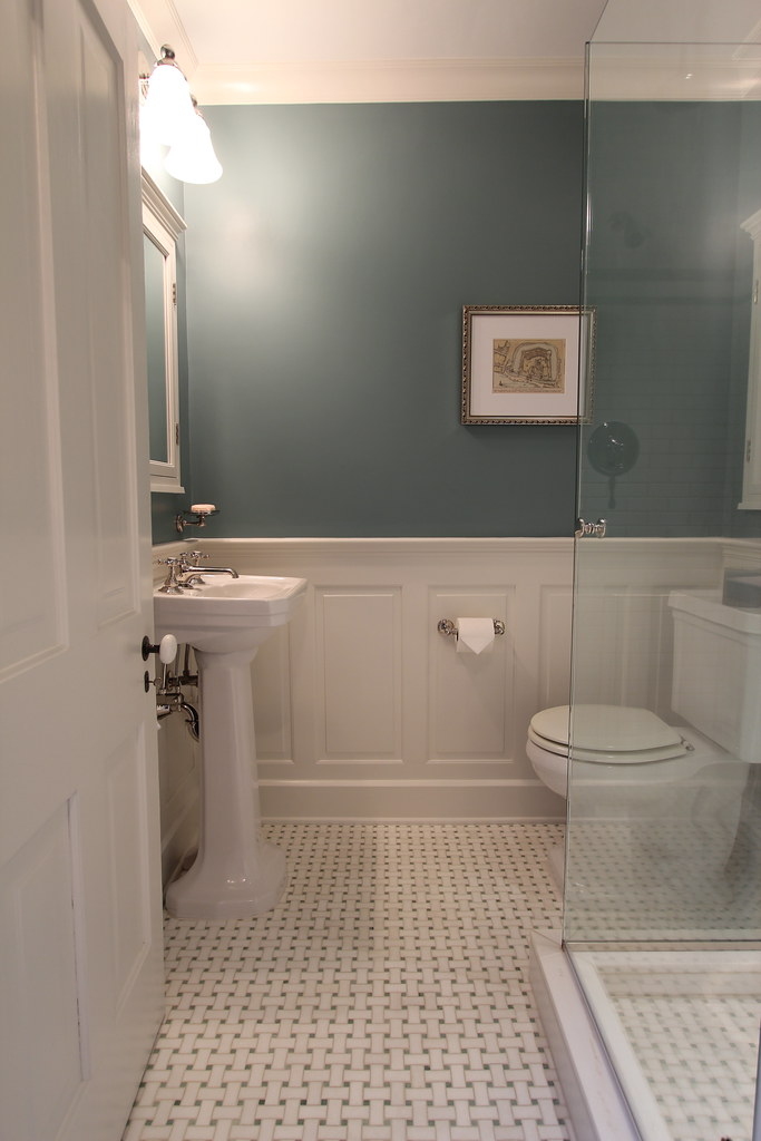On Pinterest Wendy pins bathroom after bathroom with either wood or tile  wainscoting, and it seems like when visiting other old houses with period  detail ...