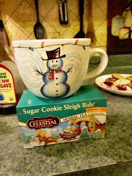 Snowman Mug and Sugar Cookie Sleigh Ride Tea