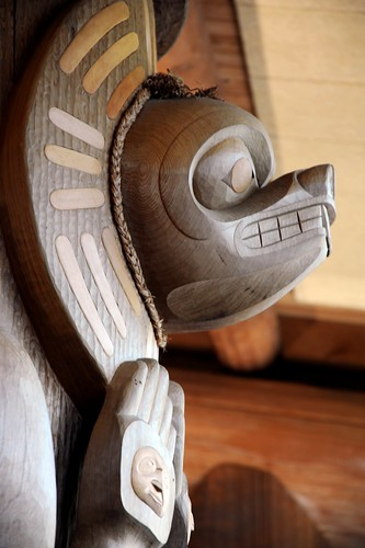 Carved bear of cedar with copper inserts, Haida Tlingit style, Vancouver Welcomes Dilgo Khyentse Yangsi Rinpoche and Shechen Rabjam Rinpoche to the West Coast of North America, Long House, B.C. Canada by Wonderlane