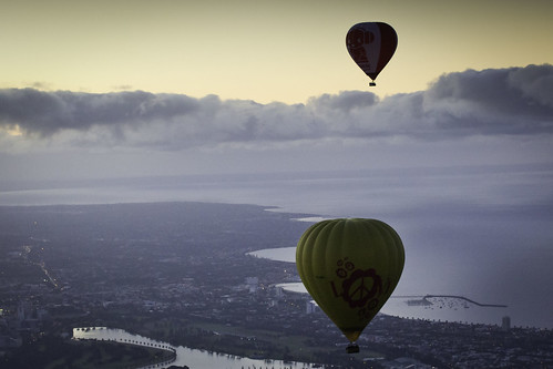 Two balloons over the bay