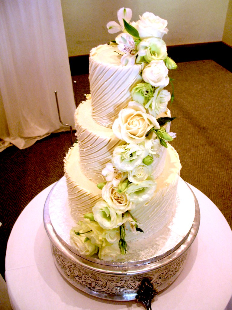 3-tier Wicked Chocolate wedding cake iced in white Spanish ganache ...
