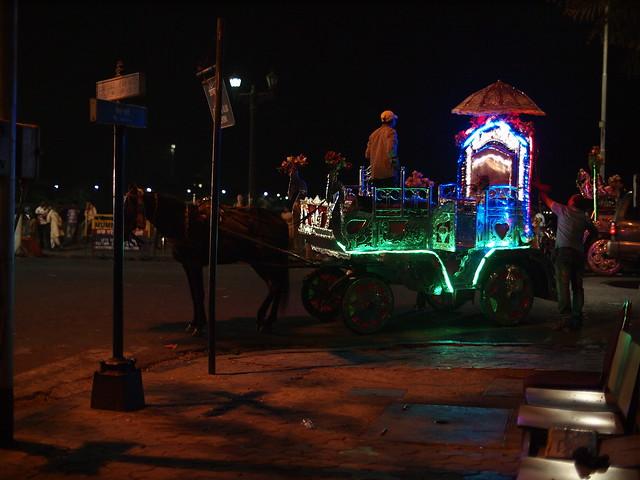 Illuminated sightseeing coaches. Mumbai, Dec 2011. 2-042