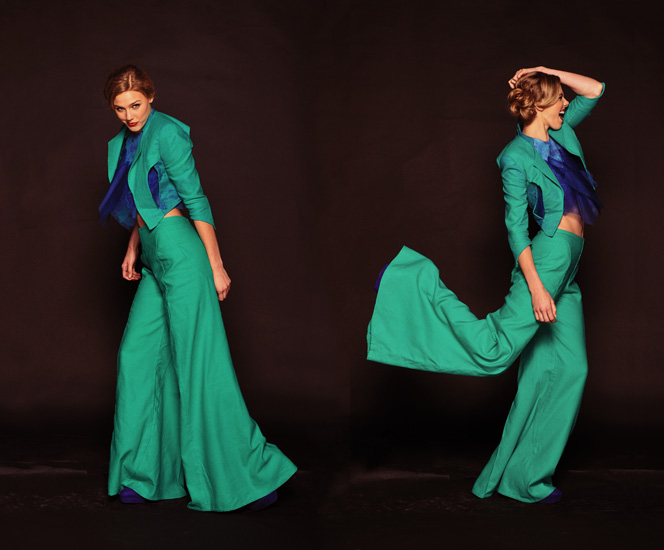 Sydney Fashion Photography, Movement and action. Green Pants Suit, High Fashion Shoot Studio photo shoot by Kent Johnson